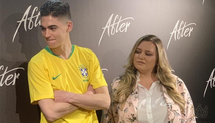 Na coletiva de imprensa, estavam presentes o casal do filme: Josephine Langford e Hero Fiennes Tiffin e a autora Anna Todd. #after